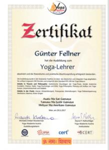 Yogalehrzertifikat Günter Fellner Yogaakademie
